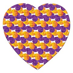 Pattern Background Purple Yellow Jigsaw Puzzle (heart)