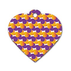 Pattern Background Purple Yellow Dog Tag Heart (one Side)
