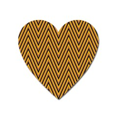 Chevron Brown Retro Vintage Heart Magnet by Nexatart