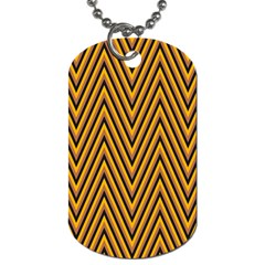 Chevron Brown Retro Vintage Dog Tag (two Sides)