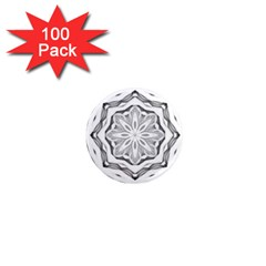 Mandala Pattern Floral 1  Mini Magnets (100 Pack)