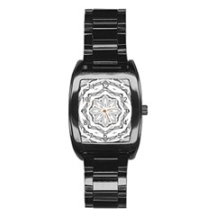 Mandala Pattern Floral Stainless Steel Barrel Watch