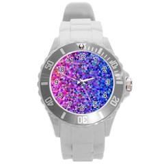 Triangle Tile Mosaic Pattern Round Plastic Sport Watch (l) by Nexatart