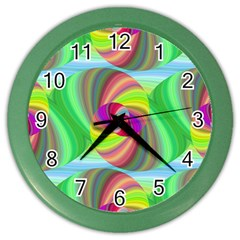 Seamless Pattern Twirl Spiral Color Wall Clocks by Nexatart