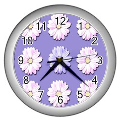 Daisy Flowers Wild Flowers Bloom Wall Clocks (silver)  by Nexatart