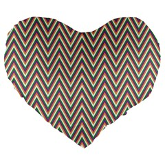 Chevron Retro Pattern Vintage Large 19  Premium Flano Heart Shape Cushions