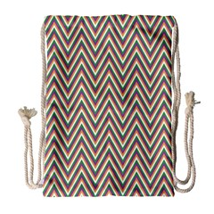Chevron Retro Pattern Vintage Drawstring Bag (large) by Nexatart