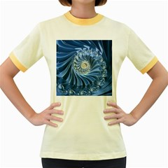Blue Fractal Abstract Spiral Women s Fitted Ringer T Shirts
