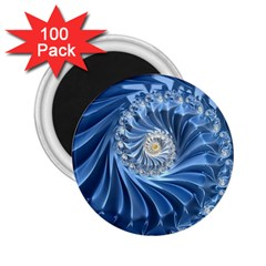 Blue Fractal Abstract Spiral 2 25  Magnets (100 Pack)