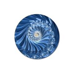 Blue Fractal Abstract Spiral Magnet 3  (round) by Nexatart