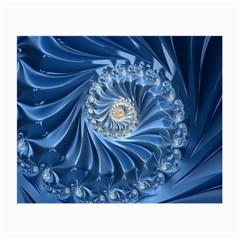 Blue Fractal Abstract Spiral Small Glasses Cloth by Nexatart