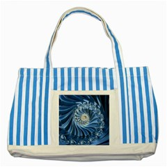 Blue Fractal Abstract Spiral Striped Blue Tote Bag