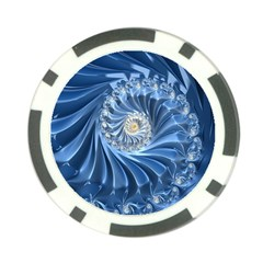 Blue Fractal Abstract Spiral Poker Chip Card Guard (10 Pack) by Nexatart