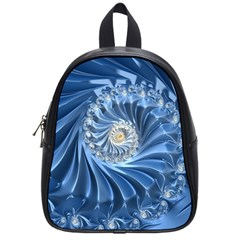 Blue Fractal Abstract Spiral School Bag (small) by Nexatart