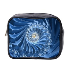 Blue Fractal Abstract Spiral Mini Toiletries Bag 2 Side by Nexatart