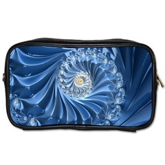Blue Fractal Abstract Spiral Toiletries Bags by Nexatart