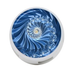 Blue Fractal Abstract Spiral 4 Port Usb Hub (two Sides)