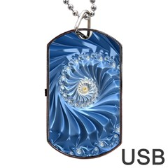 Blue Fractal Abstract Spiral Dog Tag Usb Flash (two Sides) by Nexatart