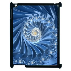 Blue Fractal Abstract Spiral Apple Ipad 2 Case (black) by Nexatart