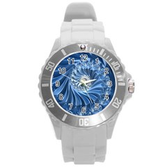 Blue Fractal Abstract Spiral Round Plastic Sport Watch (l)