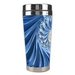 Blue Fractal Abstract Spiral Stainless Steel Travel Tumblers by Nexatart