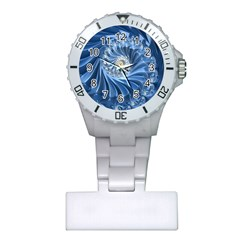 Blue Fractal Abstract Spiral Plastic Nurses Watch by Nexatart