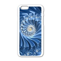 Blue Fractal Abstract Spiral Apple Iphone 6/6s White Enamel Case