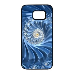 Blue Fractal Abstract Spiral Samsung Galaxy S7 Edge Black Seamless Case by Nexatart