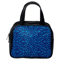 Monogram Blue Purple Background Classic Handbags (one Side)