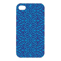 Monogram Blue Purple Background Apple Iphone 4/4s Premium Hardshell Case by Nexatart
