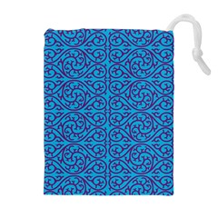Monogram Blue Purple Background Drawstring Pouches (extra Large)