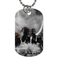 Awesome Wild Black Horses Running In The Night Dog Tag (one Side) by FantasyWorld7
