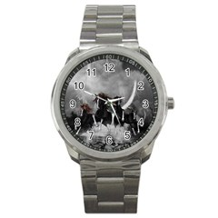 Awesome Wild Black Horses Running In The Night Sport Metal Watch by FantasyWorld7