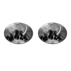 Awesome Wild Black Horses Running In The Night Cufflinks (oval) by FantasyWorld7