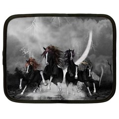 Awesome Wild Black Horses Running In The Night Netbook Case (xxl)  by FantasyWorld7