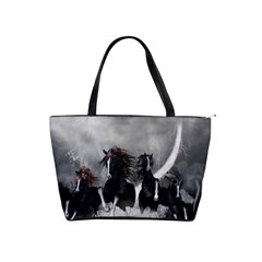 Awesome Wild Black Horses Running In The Night Shoulder Handbags by FantasyWorld7