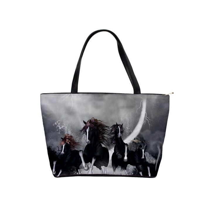 Awesome Wild Black Horses Running In The Night Shoulder Handbags