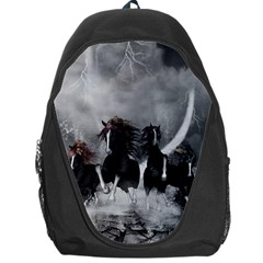 Awesome Wild Black Horses Running In The Night Backpack Bag by FantasyWorld7