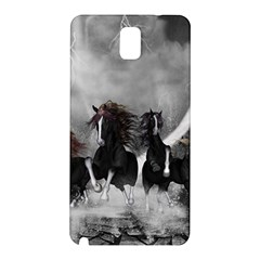 Awesome Wild Black Horses Running In The Night Samsung Galaxy Note 3 N9005 Hardshell Back Case by FantasyWorld7