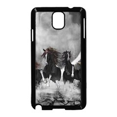Awesome Wild Black Horses Running In The Night Samsung Galaxy Note 3 Neo Hardshell Case (black) by FantasyWorld7
