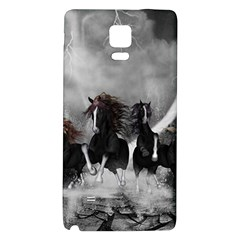 Awesome Wild Black Horses Running In The Night Galaxy Note 4 Back Case by FantasyWorld7