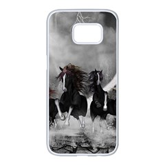 Awesome Wild Black Horses Running In The Night Samsung Galaxy S7 Edge White Seamless Case by FantasyWorld7