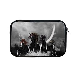Awesome Wild Black Horses Running In The Night Apple Macbook Pro 13  Zipper Case by FantasyWorld7