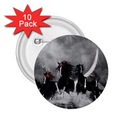 Awesome Wild Black Horses Running In The Night 2 25  Buttons (10 Pack)  by FantasyWorld7