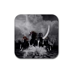 Awesome Wild Black Horses Running In The Night Rubber Square Coaster (4 Pack)  by FantasyWorld7