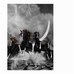 Awesome Wild Black Horses Running In The Night Small Garden Flag (two Sides) by FantasyWorld7