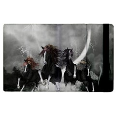 Awesome Wild Black Horses Running In The Night Apple Ipad 3/4 Flip Case by FantasyWorld7