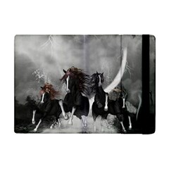 Awesome Wild Black Horses Running In The Night Apple Ipad Mini Flip Case by FantasyWorld7