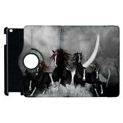 Awesome Wild Black Horses Running In The Night Apple Ipad 2 Flip 360 Case by FantasyWorld7