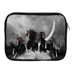 Awesome Wild Black Horses Running In The Night Apple Ipad 2/3/4 Zipper Cases by FantasyWorld7